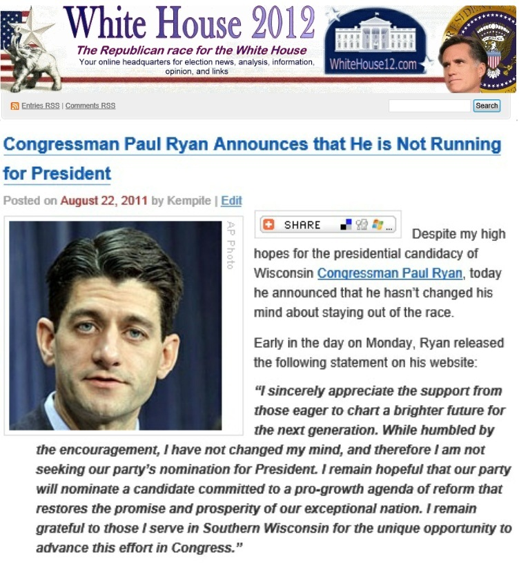 1 Year Ago Today, Paul Ryan Announced He Would Not Run for President